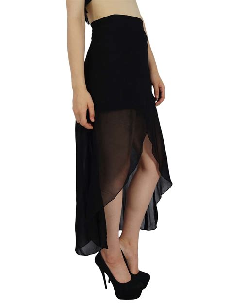 bimba asymmetrical black georgette skirt half lined