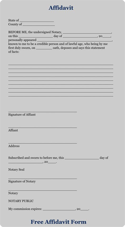 download free affidavit forms free affidavit form