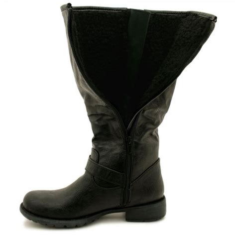 womens black flat leather style wide calf buckled biker boots