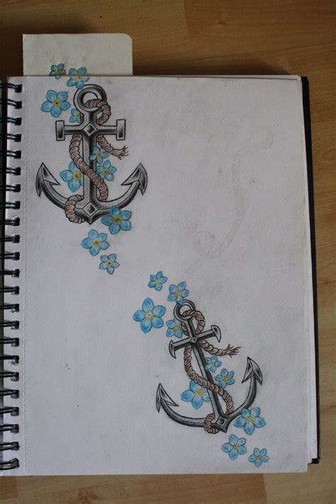 anchor flower tattoo blue flowers and anchor design