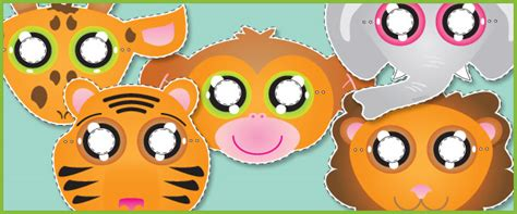 printable animal role play masks jungle animal role play masks free early years primary