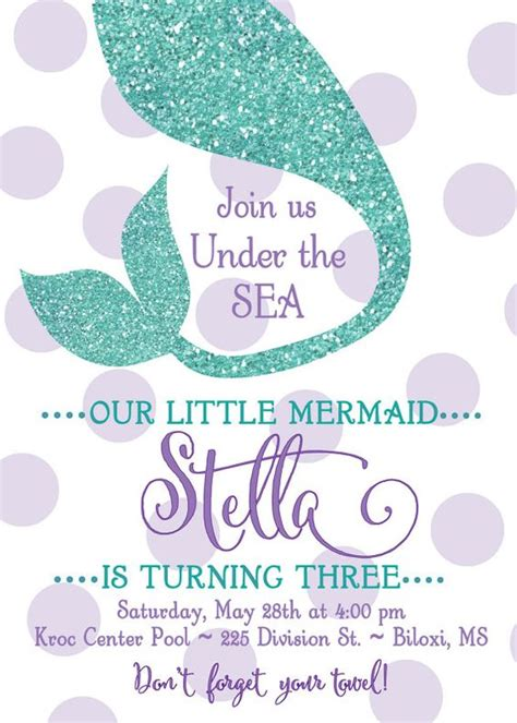 mermaid invitation template mermaid birthday invitation quot the sea