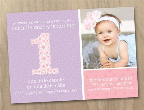 baby girl first 1st birthday photo invitation pink and