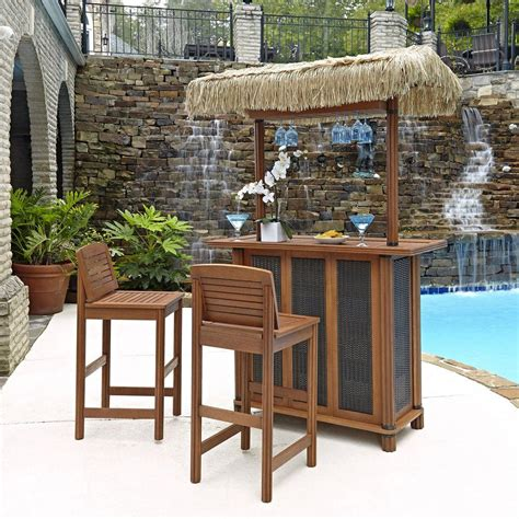 home styles bali hai outdoor patio tiki bar and 2 stools