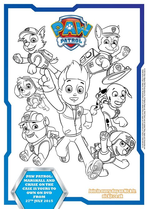 activity for paw patrol colouring pages and activity sheets in the