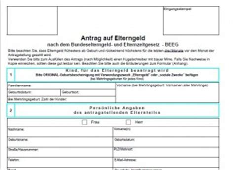 Antrag Elterngeld Vorlage amt und beh 246 rde vorlagen kostenlos