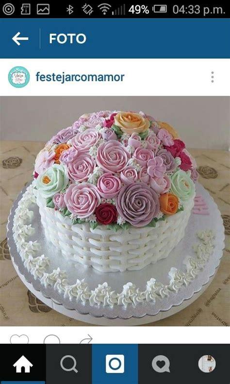 tortas decoradas en forma de canasta bizcocho en forma de canasta de flores buttercream