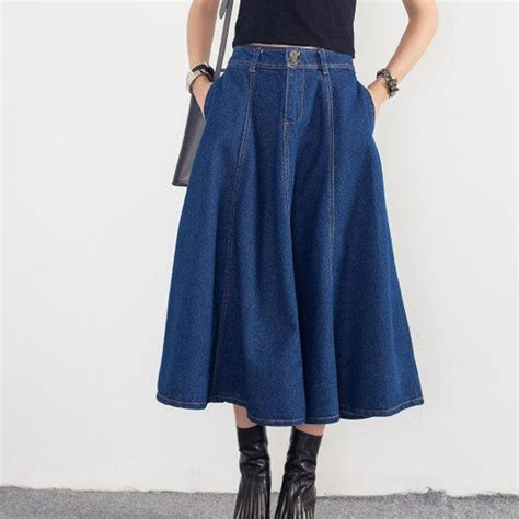 2017 new large size new retro button waist umbrella skirt denim a word autumn