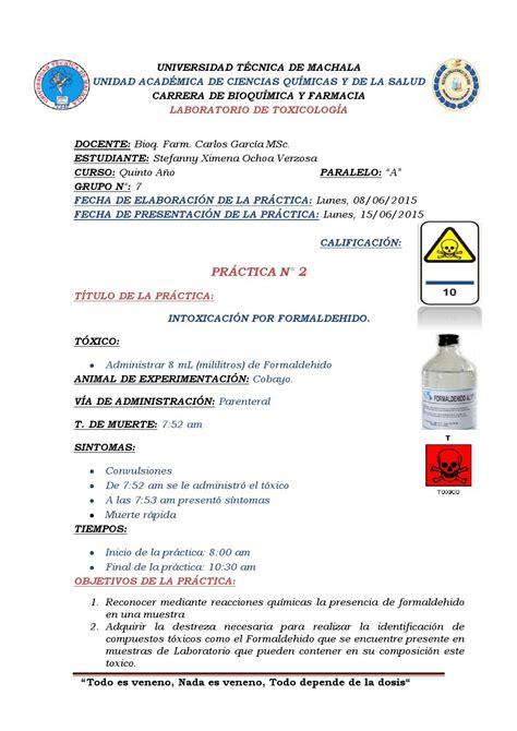 Ld Stefanny practica 2 intoxicacion por formaldehido by stefanny nenita issuu