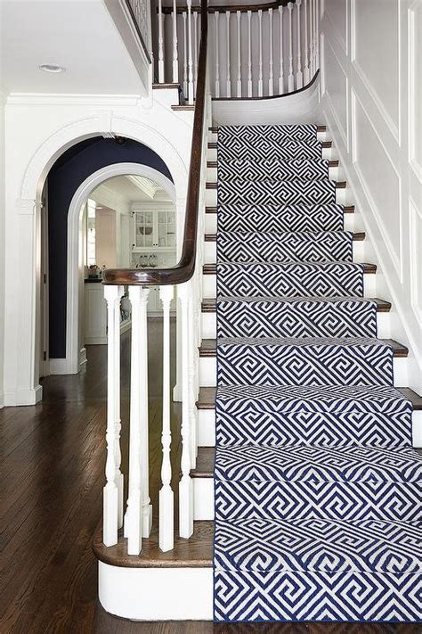 David Stark Design by Navy Geometric Stair Runner Transitional Entrance Foyer