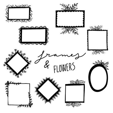 cornici disegnate cornici disegnate a mano e raccolta di fiori scaricare