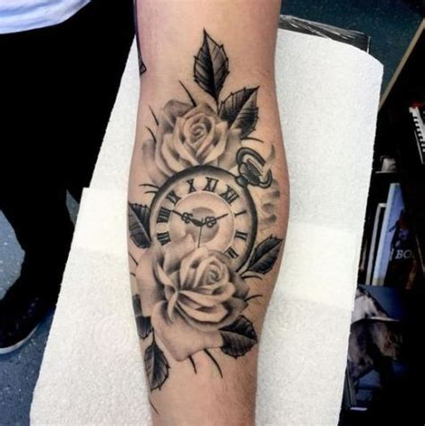 hand tattoo rose clock picture of roses with clock tattoo on the arm