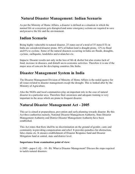 Mba In Disaster Management Syllabus by Disaster Management Indian Scenario By Vvr Ias