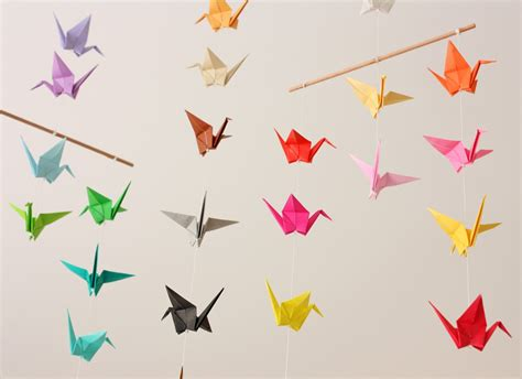 origami crane mobile by madebyjo on etsy