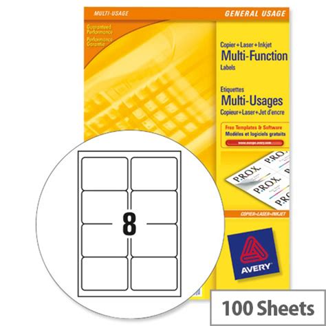 Avery 3427 Multi Function Labels 8 Per Sheet White 800 Labels Huntoffice Ie Avery Template 8 Per Page
