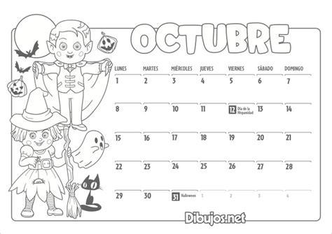 imagenes octubre para colorear calendario infantil 2018 para imprimir y colorear