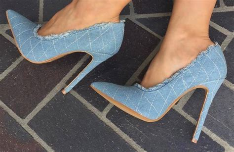 Top Quality Blue Jeans Lace High Heels Women Shoes