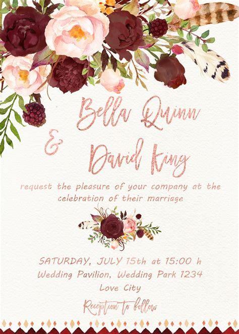 $15 $27 Burgundy marsala wedding invitation printable with