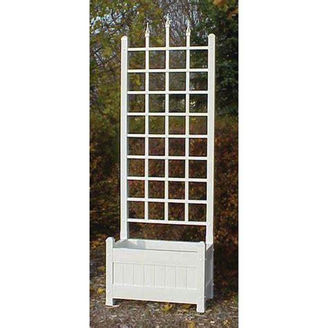 dura trel 80 in h x 28 in w white vinyl camelot planter trellis 11142 the home depot