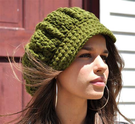 s crochet newsboy hat with brim olive green hat