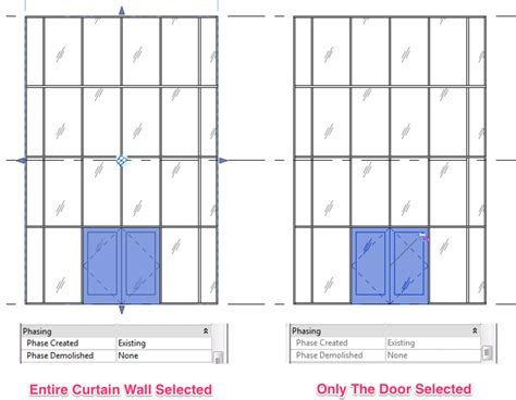 how to a show how to show demolition door in an existing curtain wall method 1 learning revit