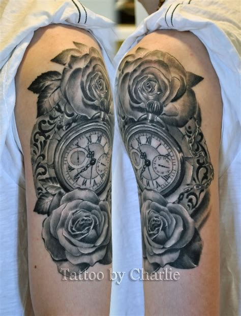 black rose half sleeve tattoos skull with pocket on right half sleeve