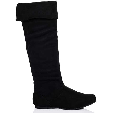 alyson flat knee high slouch boots black suede style