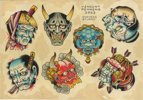 tattoo japanese flash tattoo japanese masks flash by vincent penning i like