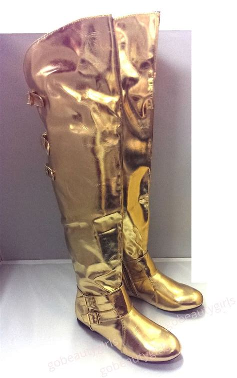 the knee boots thigh high flat gold