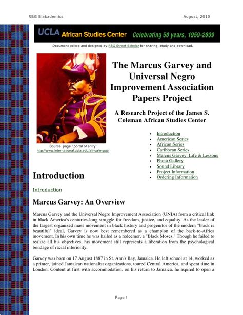 Garvey Essay by The Garvey And Unia Papers Project A Ucla Studies Cent