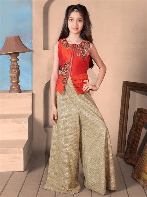 plazo suit raw silk red plazo suit g3 gss0501 g3fashion com