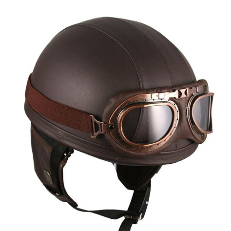 leather motorcycle helmet amazon com leather brown motorcycle goggles vintage