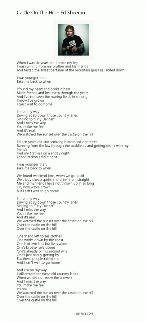 ed sheeran castle on the hill chord castle on the hill lyrics