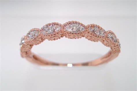 rose gold brides wedding band  diamonds onewedcom