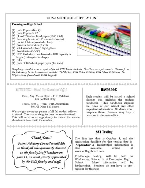 high school newsletter template farmington high school newsletter free