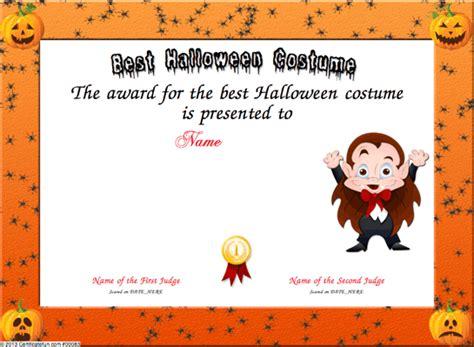 costume certificate template best costume