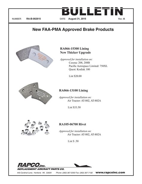 Service Letter Rapco Rapco Inc New Product Anouncement Brake Linings Rivets