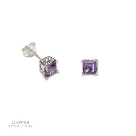 Sterling Silver Square Earrings sterling silver square amethyst stud earrings dawes