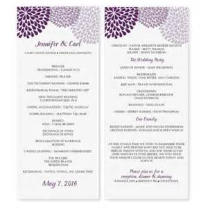 wedding program sizes wedding program template instantly edit yourself chrysanthemum plum purple