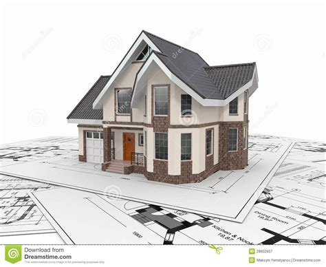 house projects free residential house on architect blueprints housing project stock illustration image 28602607