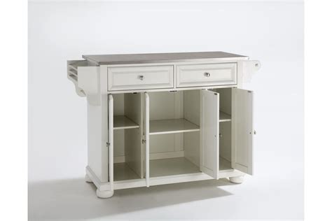 kitchen island with stainless steel top alexandria stainless steel top kitchen island in white