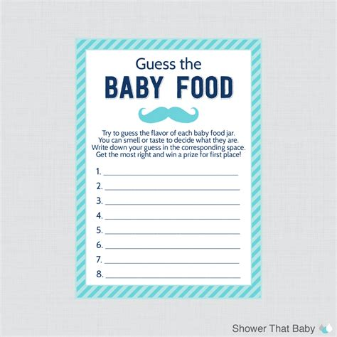 baby food guessing template mustache baby shower guess the baby food baby shower