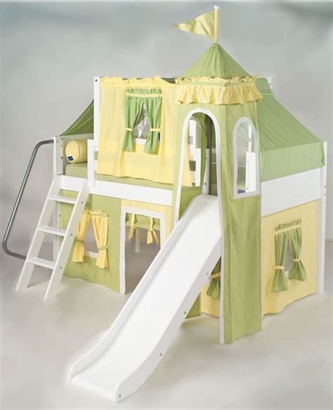 castle bed with slide green and yellow princess castle bed with slide by maxtrix
