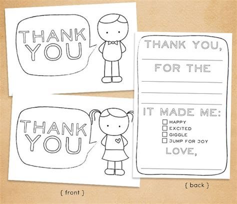 printable thank you cards to colour in printable thank you card for kids fill in and by
