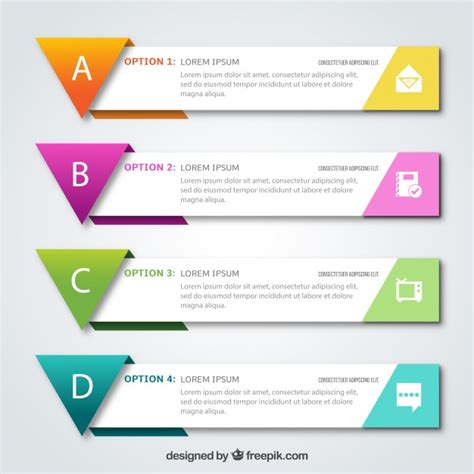 colored shapes set of four infographic banners with colored geometric