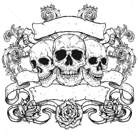 three skulls with banners scrolls and roses stock photo