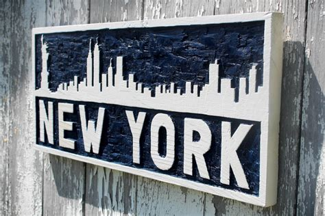 Handmade New York - new york city skyline wooden sign carved wall blue