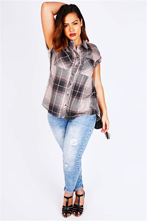 div placement pink and grey checked shirt with turnback sleeves plus