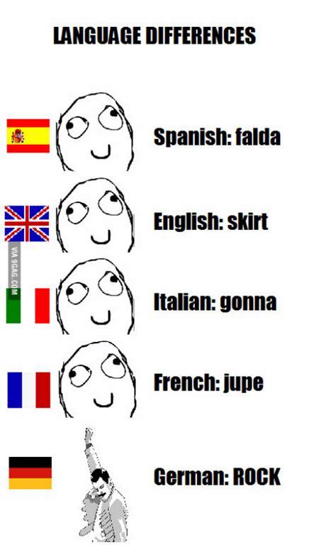 French Language Meme - language differences spanish falda english skirt italian