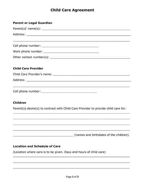 Free Printable Legal Forms Child Care Contract Template Free